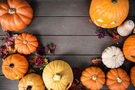 orange pumpkins on gray wooden surface